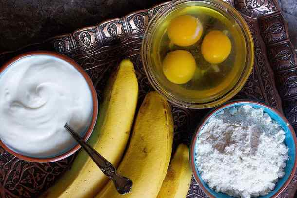 sour cream banana bread ingredients are sour cream, butter, bananas, eggs, flour, and sugar.