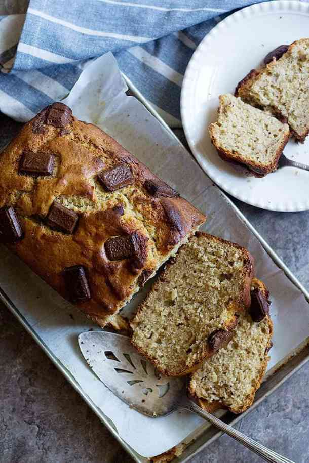 Let the peanut butter banana bread cool completely before slicing.