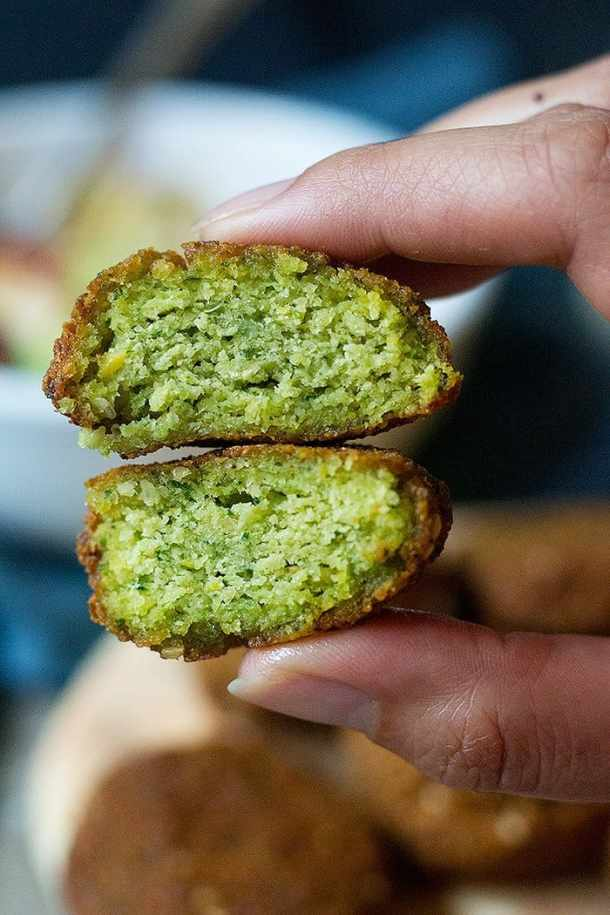Falafels are green because they contain parsley and cilantro.