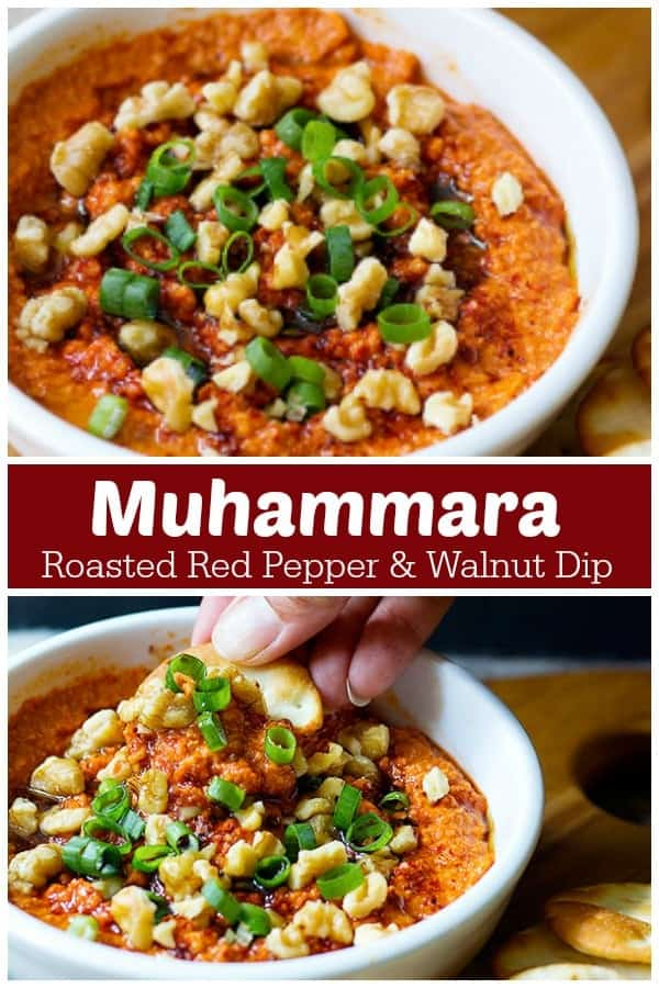 Muhammara is a delicious roasted red pepper and walnut dip that's full of amazing flavors! This muhammara dip is a great alternative to classic dips and can be made in no time. #muhammara #mediterraneanfood #middleeasternfood #diprecipe #easydip #vegetariandip #vegetarianfood