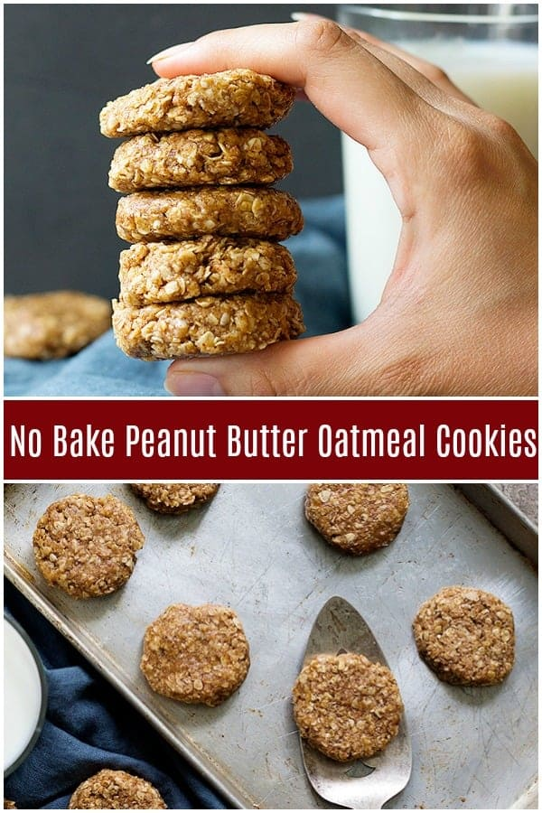 No bake peanut butter oatmeal cookies are the best snack ever! These no bake cookies are filled with peanut butter and are made with only a few ingredients. #oatmealcookies #nobakecookies #cookies