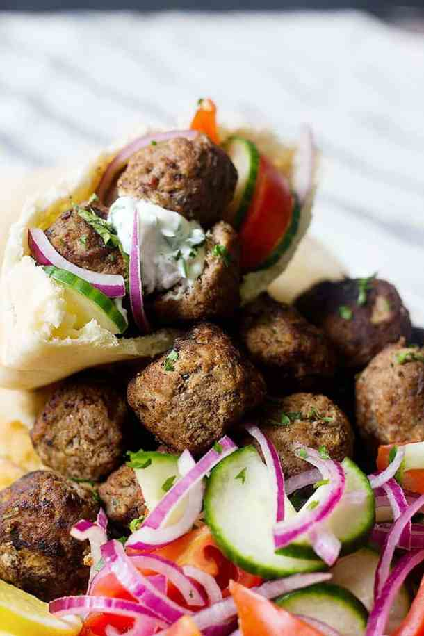 These tasty meatballs are easy to make and are perfect with vegetables such as onion, cucumbers and tomato.