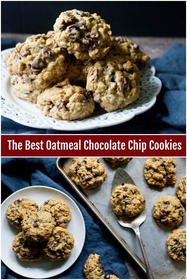 These oatmeal chocolate chip cookies are chewy and incredibly soft. Loaded with chocolate and oats, they're super easy to make! #oatmealcookies #chocolatechipoatmealcookies #holidayrecipes #cookierecipes #cookies