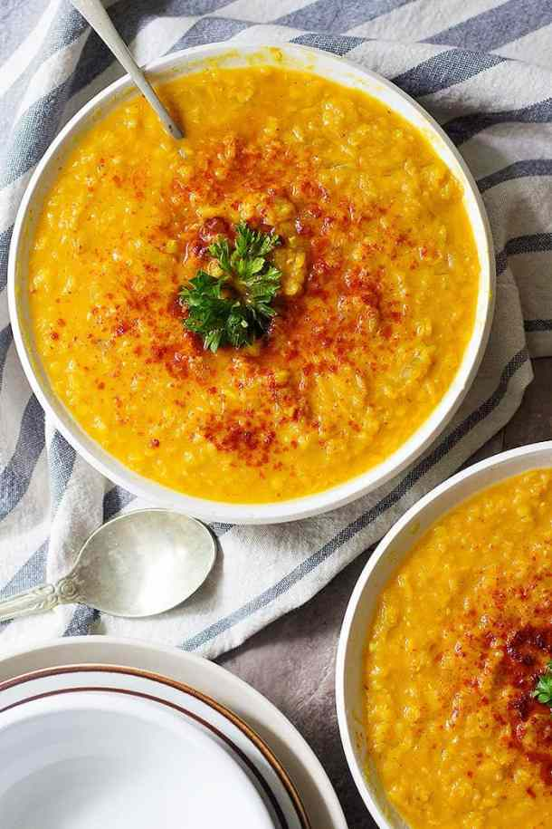 turmric red lentil soup for iftar