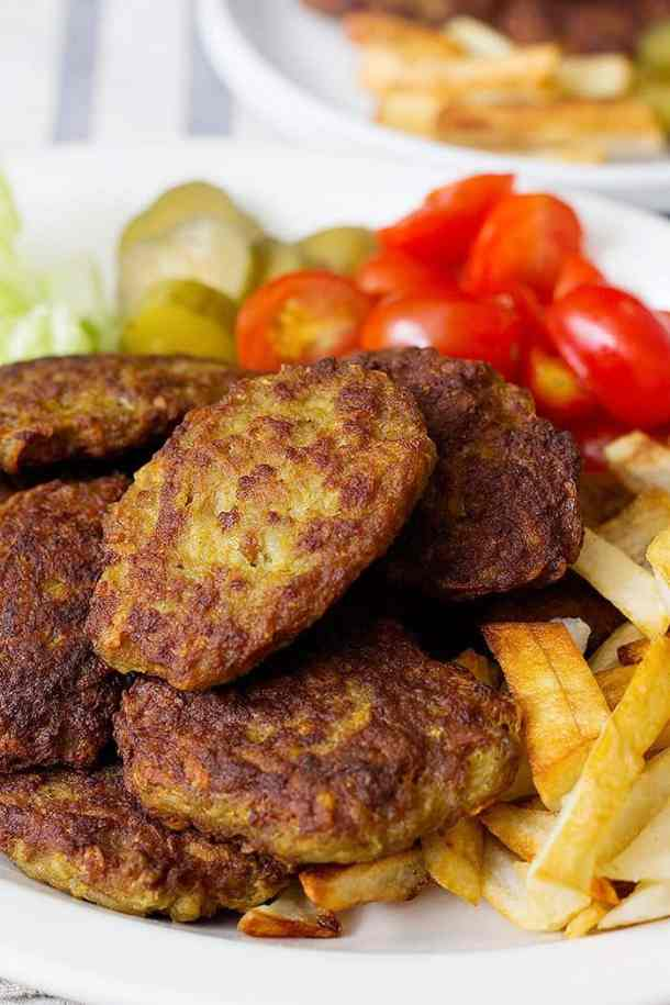 Kotlet is Persian meat patties pan fried in oil and served with French fries.