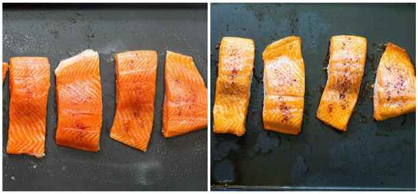To make salmon patties, bake the salmon in the oven for 20 minutes.