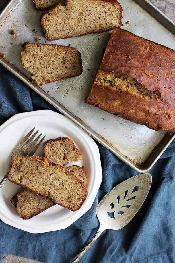 Serve almond flour banana bread with tea or coffee.