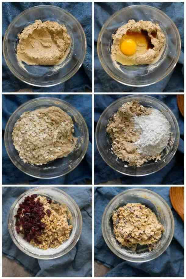 To make cranberry oatmeal cookies cream butter and sugars, add the egg and vanilla, add in oatmeal and flour. Mix and stir in cranberries and walnuts.