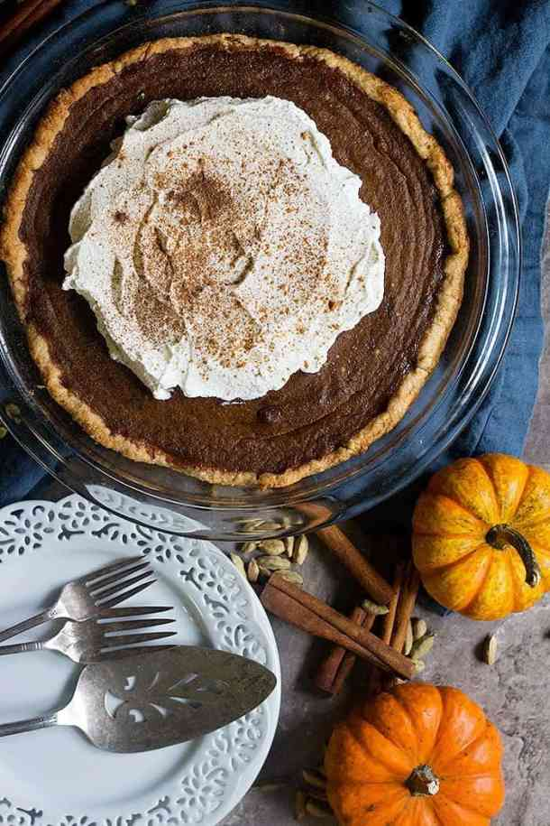 Homemade pumpkin pie with chai spice is delicious.