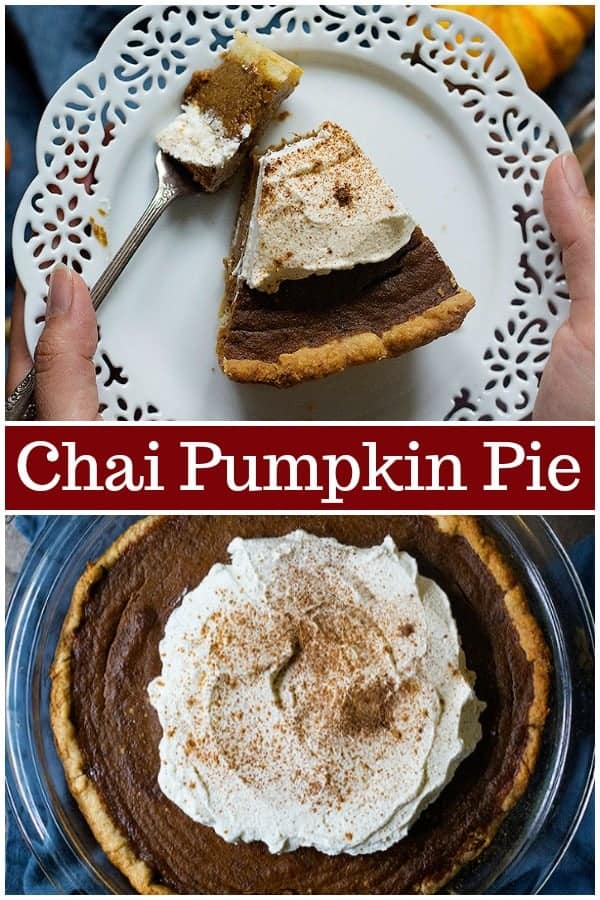Learn how to make the best ever homemade pumpkin pie flavored with aromatic chai spices. This easy pumpkin pie is perfect for Thanksgiving. #pumpkinpie #homemadepumpkinpie #chai #chaispice