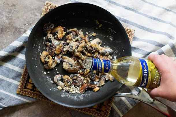 Saute mushrooms in butter and add cooking wine to it.