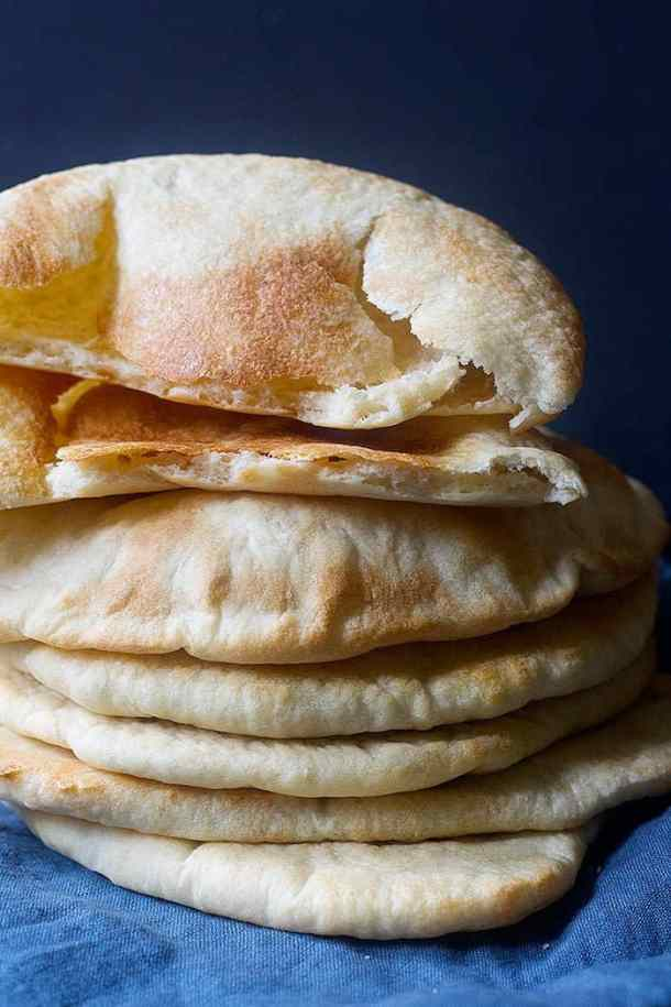 A delicious stack of pita bread freshly out of oven. Homemade pita bread is perfect.