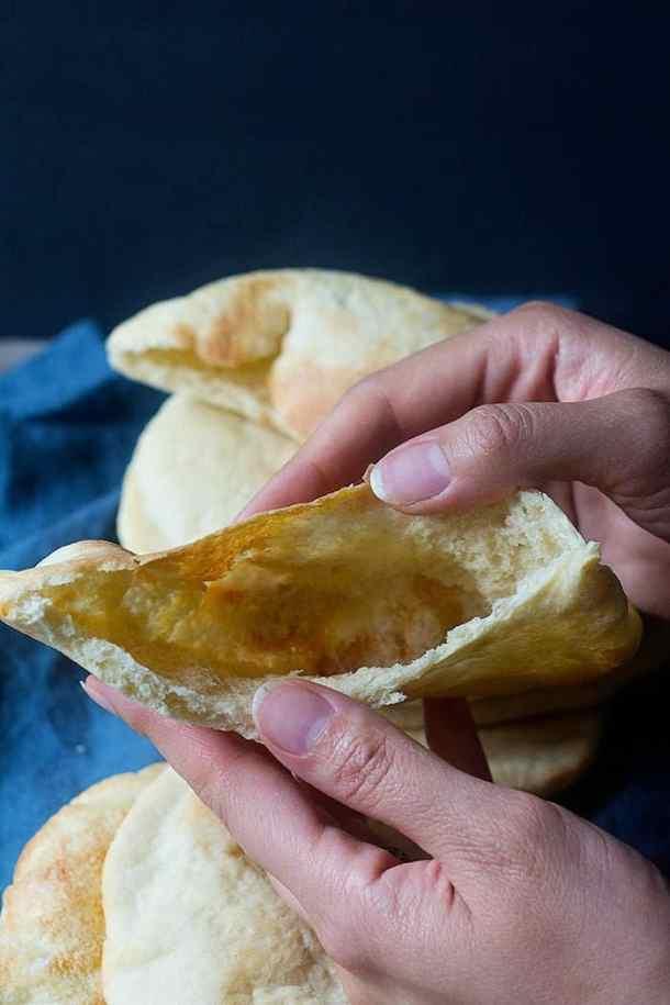 A good pita bread is hollowed inside.