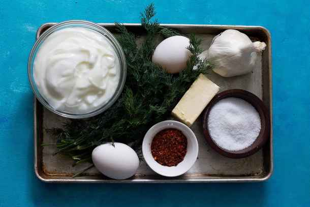 You need Eggs Plain yogurt Fresh or dried dill Garlic Salt and pepper Butter Aleppo Pepper to make cilbir turkish eggs.