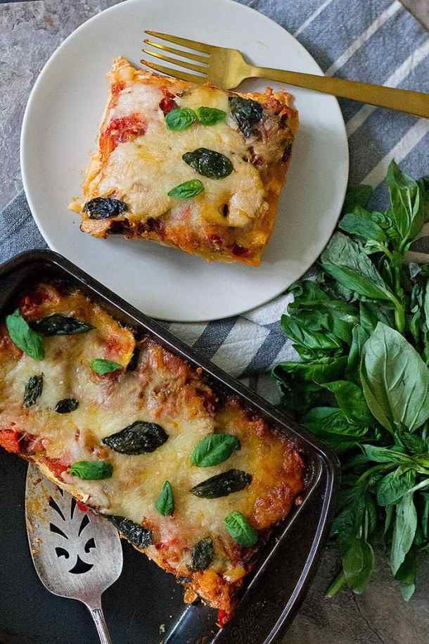 For more flavor top vegetarian lasagna with basil.