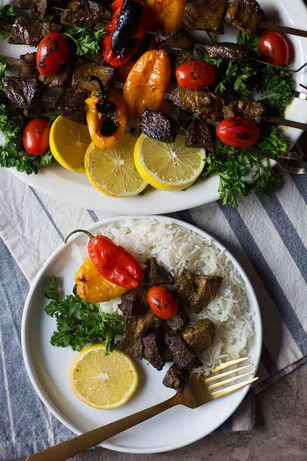 Shish kabobs come together in a short time and you can serve them with different sides such as Mediterranean oven roasted vegetables or Mediterranean salad.