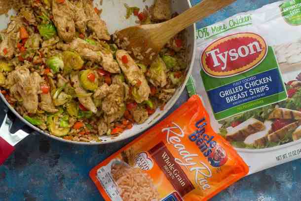 An easy skillet chicken and rice with veggies that's ready in no time! Make this one-pan chicken and rice dish in no time with a couple of shortcuts.