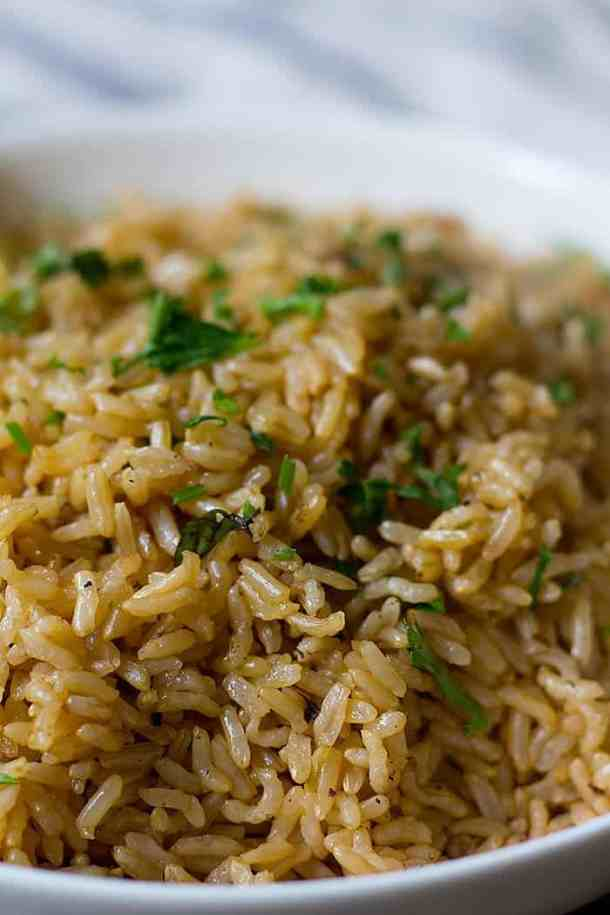 Brown rice makes a delicious side dish to many different main dishes such as saffron chicken, Mediterranean chicken or quick Korean beef.