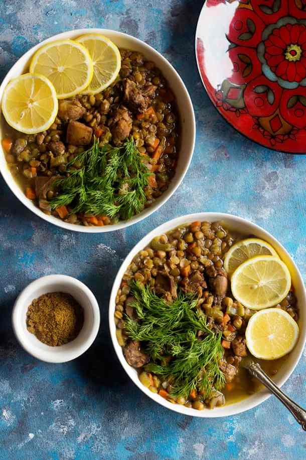 An easy chicken lentil recipe that's packed with Mediterranean flavors. Made with simple and fresh ingredients, this homemade chicken and lentil soup is the perfect dinner.