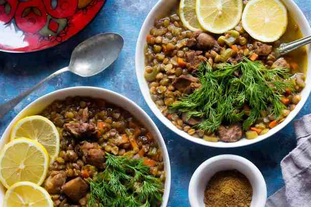 chicken lentil soup with Mediterranean spices is perfect for dinner.