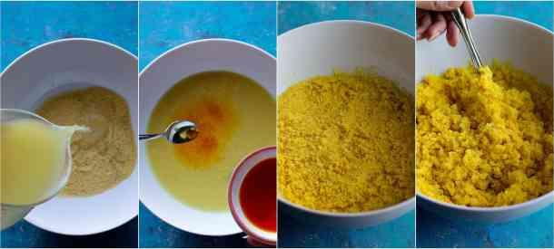 To make saffron couscous mix couscous with saffron and chicken stock let it sit for 12 minutes and serve.
