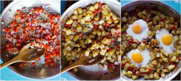 To make breakfast hash saute onion and pepper then add potatoes and spices and finally add eggs.