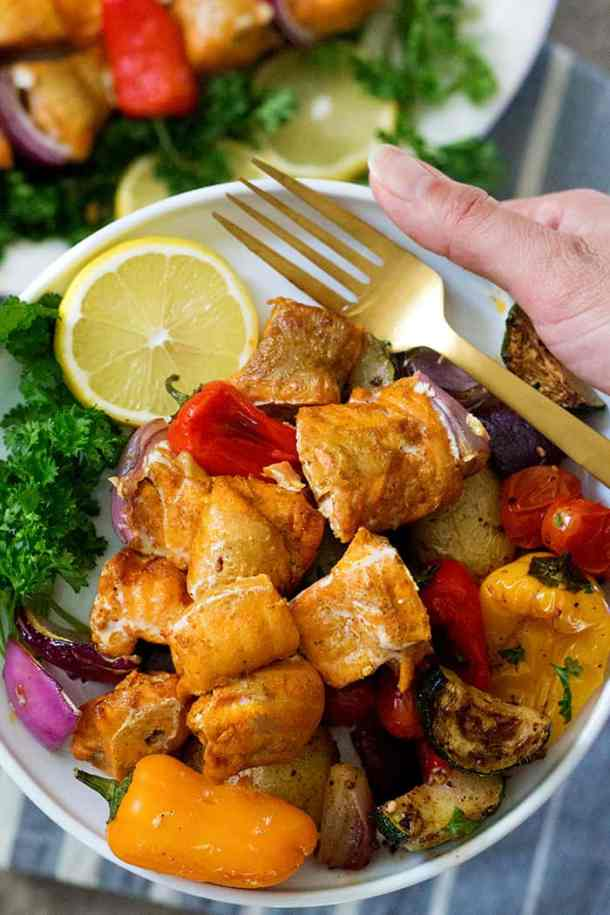 Salmon kabobs are ready when they're flaky and fully cooked.