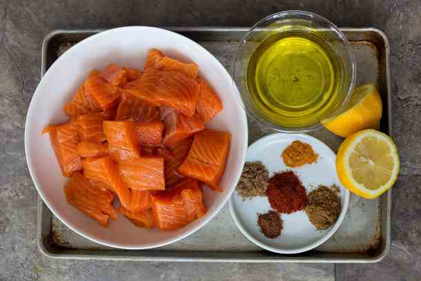 to make salmon kabobs you need salmon, spices, olive oil and lemon.