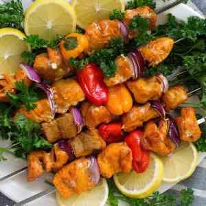 Grilled Salmon Shish Kabobs (Salmon Kabobs) [Video]