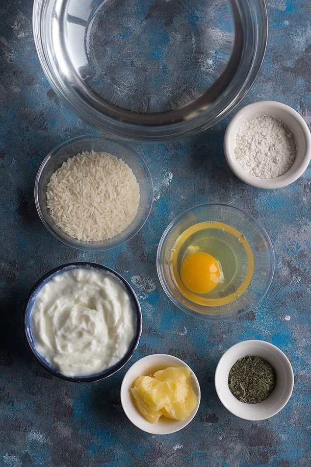 To make warm yogurt soup, you need the following ingredients: Rice: preferably basmati or any long grain. Yogurt: we need plain yogurt, preferably Greek yogurt. Egg Flour Butter Dried mint: you can find dried mint on amazon or at local Middle Eastern and Mediterranean shops.