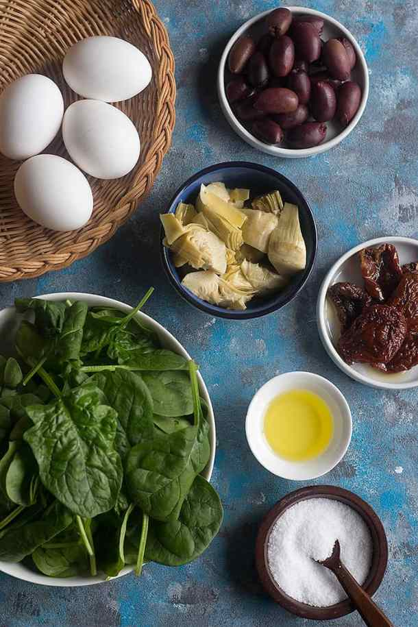 Mediterranean omelette you need the following ingredients: Artichokes Spinach Sun dried tomatoes Eggs Olives