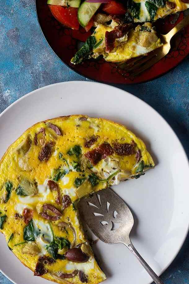 Mediterranean omelette is easy and perfect for breakfast.