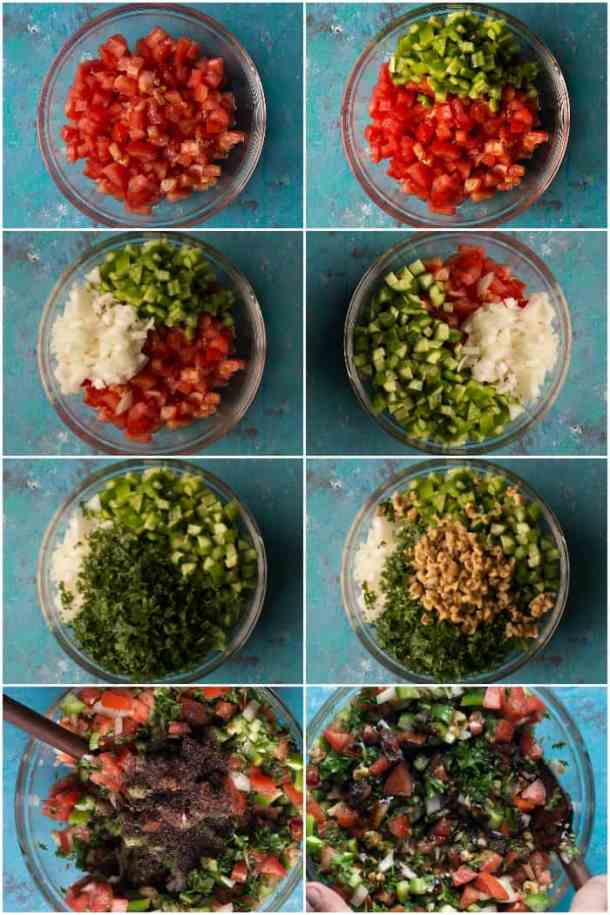 steps to make Turkish tomato walnut salad. Add cucumbers and onions to chopped tomatoes and add green peppers. en add herbs and walnuts. Mix well and add the dressing and mix well.