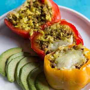 Mexican Stuffed Peppers with Chile Tomatillo Verde Salsa
