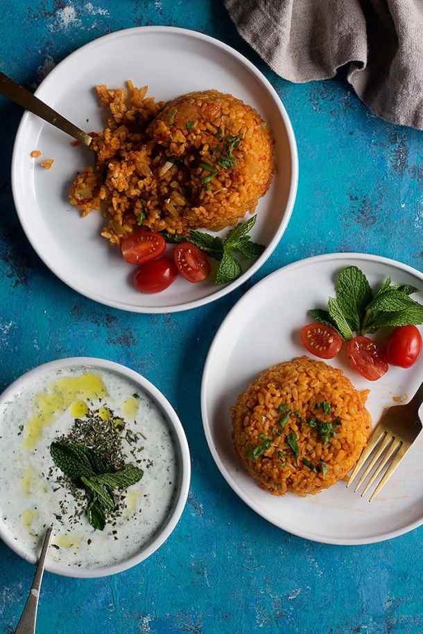 Two servings of Turkish bulgur pilaf with yogurt.