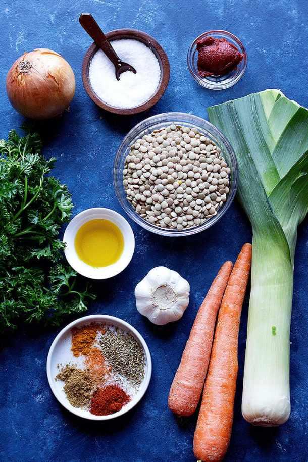 To make instant pot lentil soup you need lentils, tomato paste, onion, salt, olive oil, garlic, leek, carrots and spices.