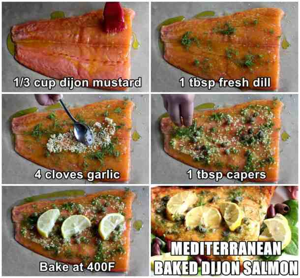 Steps to make baked dijon salmon. Spread mustard, add dill, garlic, capers and lemon. Bake in the oven and serve.