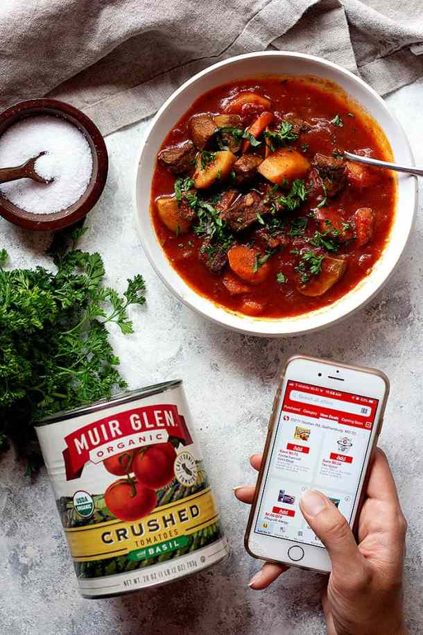 Italian homemade beef stew with fresh basil.