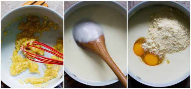 To make bechamel sauce, whisk flour and butter, add in milk and cook for a few minutes. Add eggs and parmesan cheese.