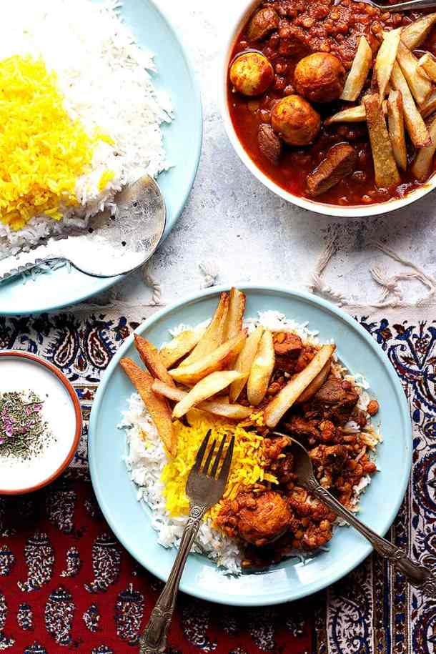 Khoresh gheimeh is a Persian stew made with lamb and split chickpeas. Learn how to make gheimeh recipe with a step-by-step tutorial and video.