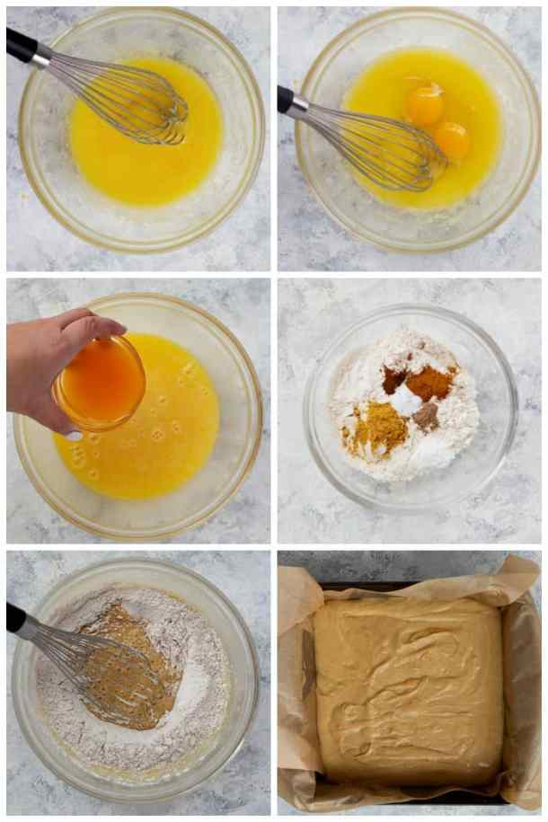 to make this cake mix melted butter with sugar then add eggs and clementine juice. Mix flour with spices and add to the cake. Bake for 30 minutes.