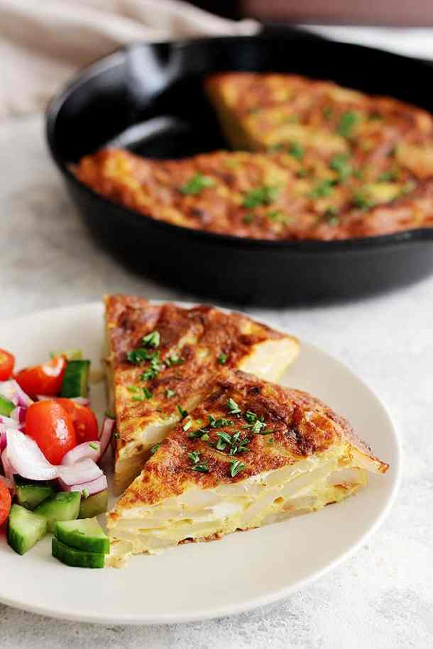 This is a simple vegetarian potato omelette that's popular in every corner of Spain.