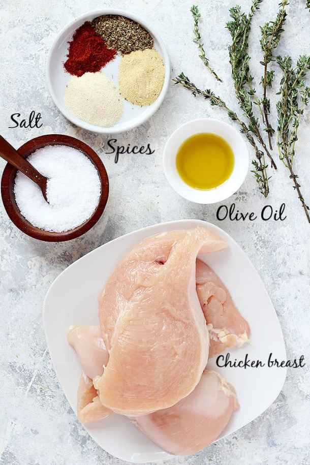 to make this recipe you need chicken breast, spices, salt and olive oil plus chicken stock.
