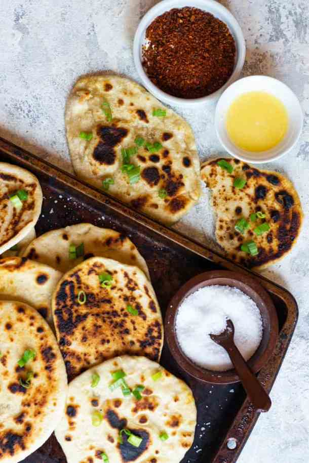 This naan without yeast recipe is made on the stove and is perfect for any new baker.