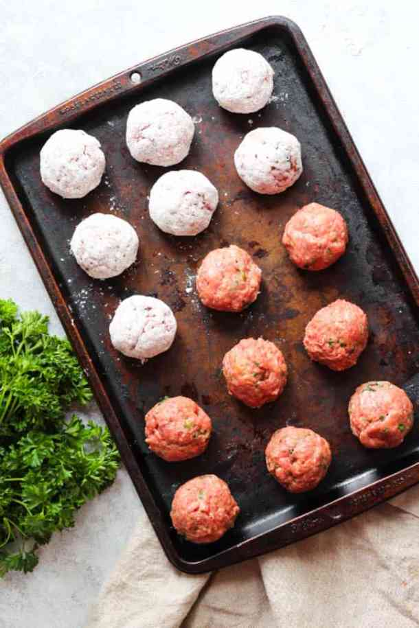Form the balls and roll them in all purpose flour.