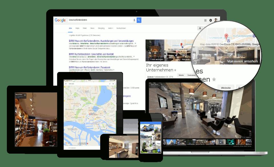 UNICORNSULT Google Business View Responsive Laptop Computer 360 Grad Rundgang virtuell Handy Tablet VR Brille von innen ansehen see inside trusted maps plus unternehmen tour