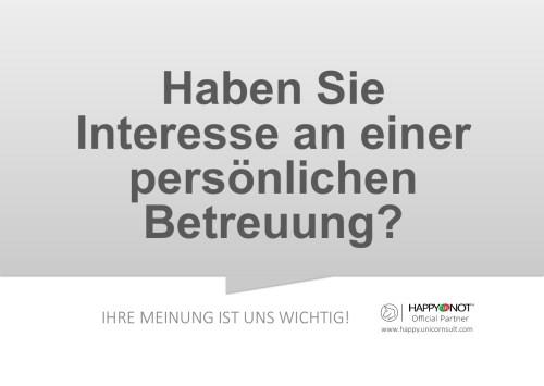 Haben Sie Interesse an einer persoenlichen Betreuung Happy Or Not HappyOrNot Smiley Terminal Question Sheet Frageblatt