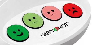 Happy Or Not Smiley Terminal HappyOrNot Closeup Buttons Buzzer Bewerten Bewertung