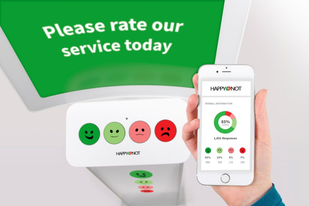 happy or not happyornot smiley terminal phone mobile reporting service ergebnisse please rate our service button