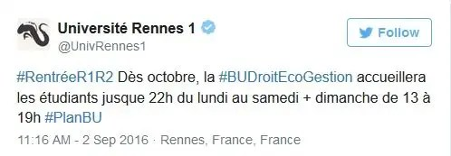 Rennes BU ouverture